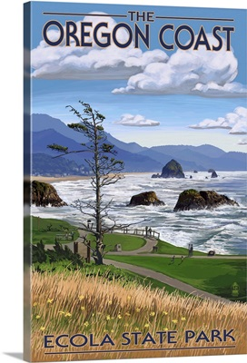 Cannon Beach from Ecola State Park, OR: Retro Travel Poster