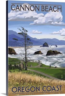 Cannon Beach, OR - Oregon Coast View: Retro Travel Poster