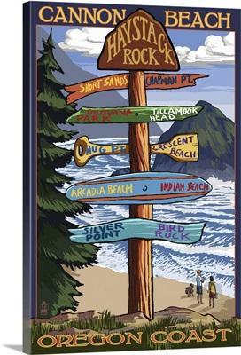 Cannon Beach, Oregon Destinations Sign: Retro Travel Poster