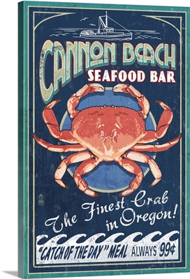 Cannon Beach, Oregon - Dungeness Crab Vintage Sign: Retro Travel Poster