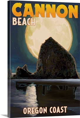 Cannon Beach, Oregon - Haystack Rock and Full Moon: Retro Travel Poster