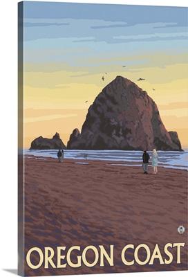 Cannon Beach, Oregon - Haystack Rock: Retro Travel Poster