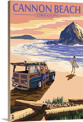 Cannon Beach, Oregon - Woody and Haystack Rock: Retro Travel Poster