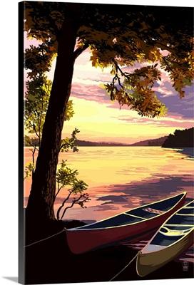 Canoe and Lake at Sunset