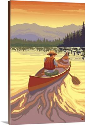 Canoe at Sunset: Retro Poster