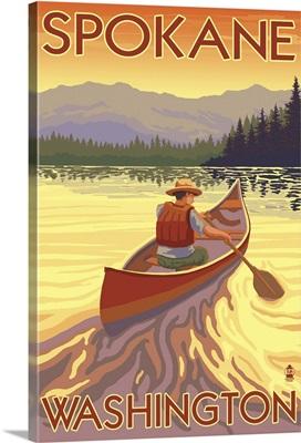 Canoe Scene - Spokane, Washington: Retro Travel Poster