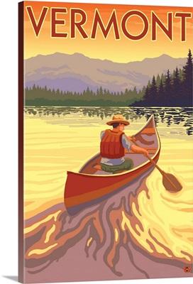 Canoe Scene - Vermont: Retro Travel Poster