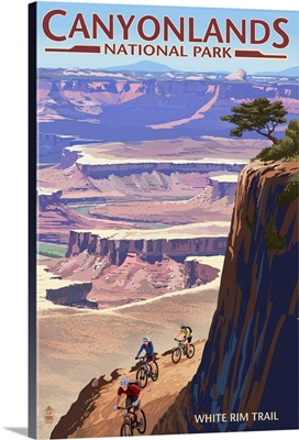 Canyonlands National Park, Utah - Conflunce and Bikers: Retro Travel Poster