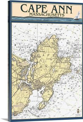 Cape Ann, Massachusetts - Nautical Chart: Retro Travel Poster