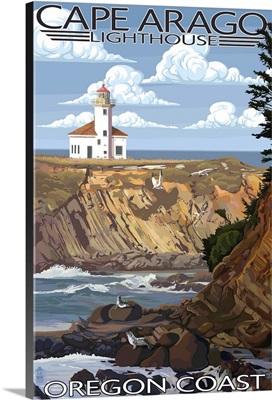 Cape Arago Lighthouse - Oregon Coast: Retro Travel Poster