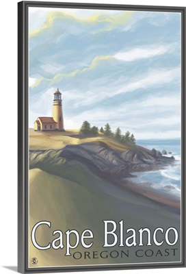 Cape Blanco Lighthouse, Oregon Coast: Retro Travel Poster