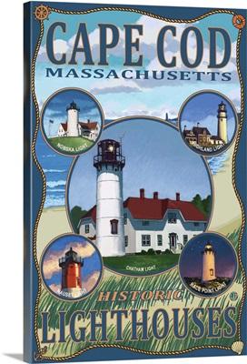 Cape Cod Lighthouses, MA: Retro Travel Poster