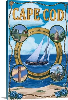 Cape Cod, MA Scenes: Retro Travel Poster