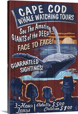 Cape Cod, Massachusetts - Blue Whale Watching Vintage Sign: Retro Travel Poster