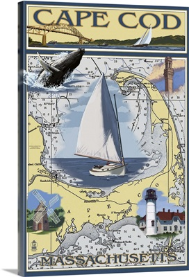 Cape Cod, Massachusetts Chart and Views: Retro Travel Poster