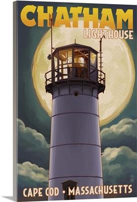 Cape Cod, Massachusetts - Chatham Light and Full Moon: Retro Travel Poster