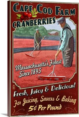 Cape Cod, Massachusetts - Cranberry Vintage Sign: Retro Travel Poster