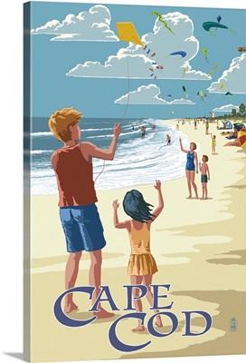 Cape Cod, Massachusetts - Kite Flyers: Retro Travel Poster