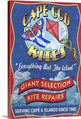 Cape Cod, Massachusetts - Kite Shop Vintage Sign: Retro Travel Poster