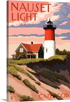 Cape Cod, Massachusetts - Nauset Light and Sunset: Retro Travel Poster