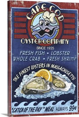 Cape Cod, Massachusetts - Oyster Bar Vintage Sign: Retro Travel Poster
