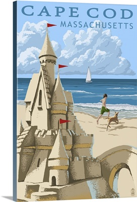 Cape Cod, Massachusetts - Sand Castle: Retro Travel Poster