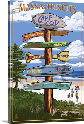 Cape Cod, Massachusetts - Sign Destinations: Retro Travel Poster