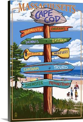 Cape Cod, Massachusetts - Sign Destinations (Version 2): Retro Travel Poster