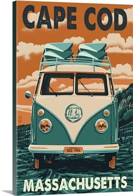 Cape Cod, Massachusetts - VW Van Letterpress: Retro Travel Poster