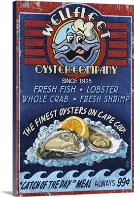 Cape Cod, Massachusetts - Wellfleet Oyster Company: Retro Travel Poster