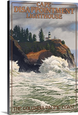 Cape Disappointment Lighthouse - The Columbia-Pacific Coast: Retro Travel Poster