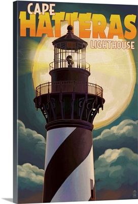 Cape Hatteras Lighthouse Full Moon - Outer Banks, North Carolina: Retro Travel Poster