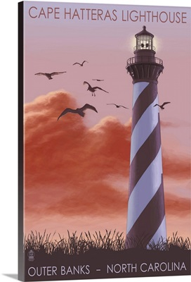 Cape Hatteras Lighthouse - North Carolina - Sunrise: Retro Travel Poster
