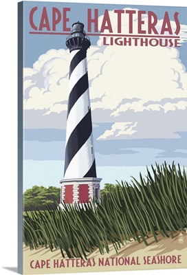 Cape Hatteras Lighthouse - Outer Banks, North Carolina: Retro Travel Poster