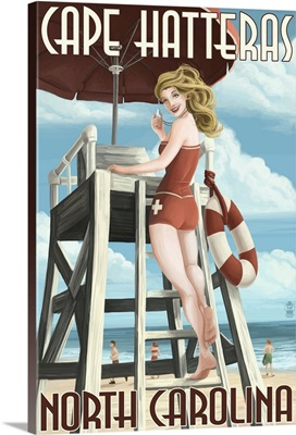 Cape Hatteras, North Carolina - Lifeguard Pinup Girl: Retro Travel Poster