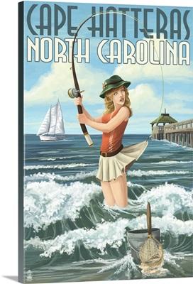 Cape Hatteras, North Carolina - Surf Fishing Pinup Girl: Retro Travel Poster