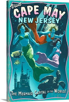 Cape May, New Jersey - Mermaids Vintage Sign: Retro Travel Poster