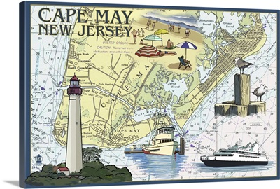 Cape May, New Jersey - Nautical Chart: Retro Travel Poster