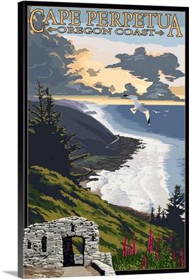 Cape Perpetua - Oregon Coast: Retro Travel Poster