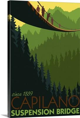 Capilano Suspension Bridge - Vancouver, BC: Retro Travel Poster