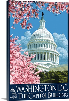 Capitol Building and Cherry Blossoms - Washington DC: Retro Travel Poster