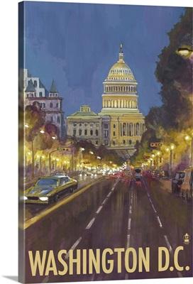 Capitol Building - Washington DC: Retro Travel Poster