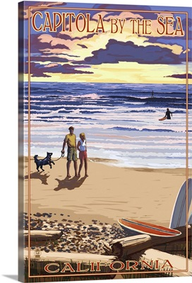 Capitola, California - Capitola By the Sea Sunset Beach Scene: Retro Travel Poster