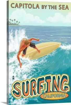 Capitola, California - Capitola By the Sea Surfer Scene: Retro Travel Poster