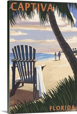 Captiva, Florida - Adirondack Chair on the Beach: Retro Travel Poster
