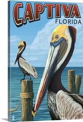 Captiva, Florida - Brown Pelican: Retro Travel Poster