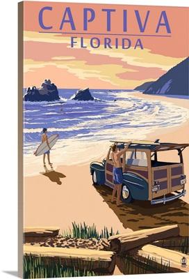 Captiva, Florida - Woody On The Beach: Retro Travel Poster