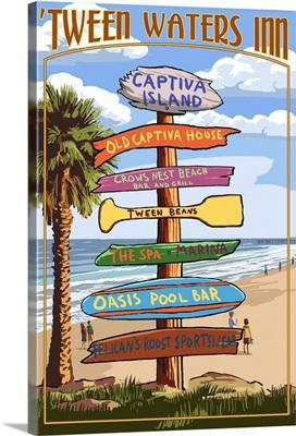 Captiva Island, Florida - Destinations Signpost: Retro Travel Poster