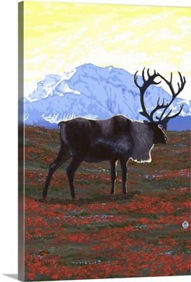 Caribou and Mountain: Retro Poster
