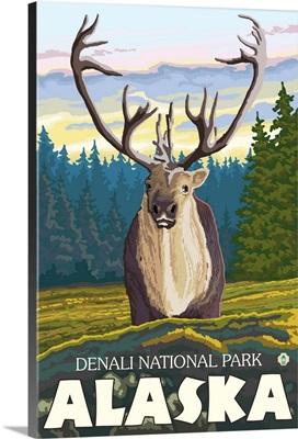 Caribou in the Wild - Denali National Park, Alaska: Retro Travel Poster